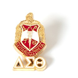 Delta Sigma Theta Jewelry 3 D Color Shield Pin with drop letters