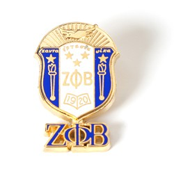 Zeta Phi Beta jewelry - 3-D Color Shield Pin w/ drop letters