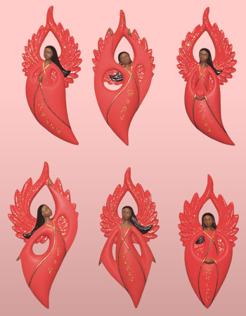 Flat-Style Angel Ornaments in Red