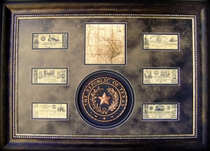 3 Dimensional art-Republic of TX Seal, Map & Currency