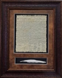 3 Dimensional Art-U.S. Declaration with Quill