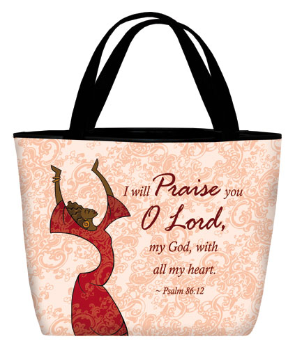 Tote bag: I will Praise in red