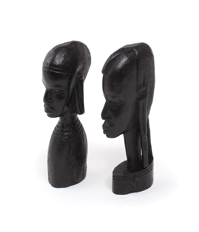 Ebony Busts Pair Of 2 african statue