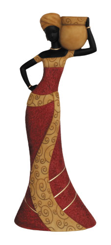 Taper Candlestick, Woman1 in red - Figurine