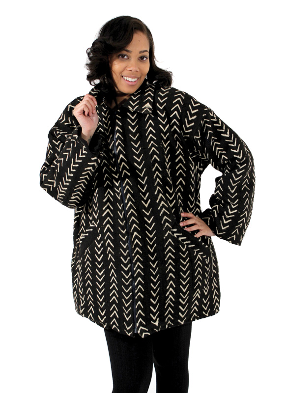 Mid-Length Mud Cloth Coat Black and White