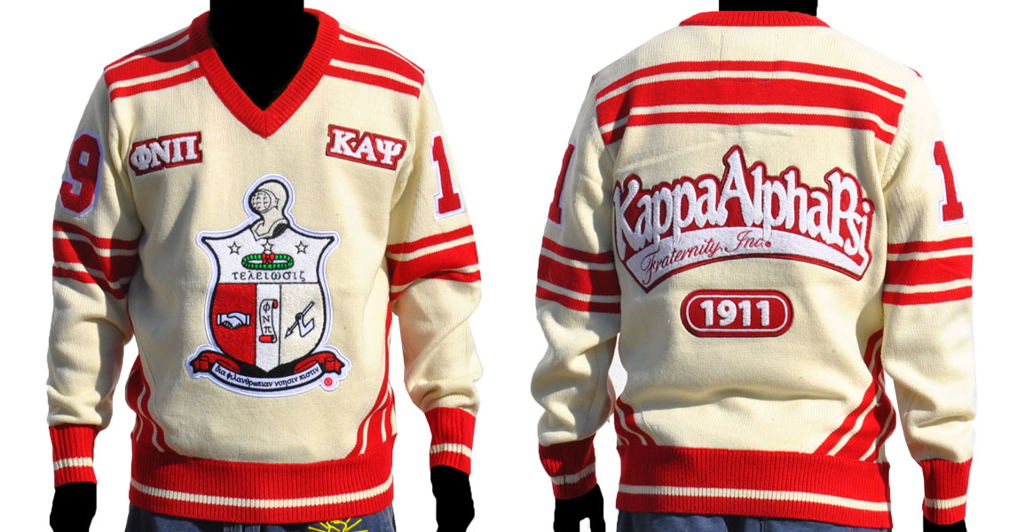 Kappa Alpha Psi apparel Sweater V neck white