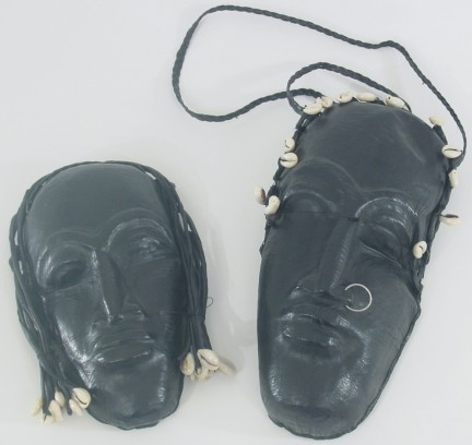 Black Leather Purse-Mask Design