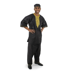 3 pc Men's Dashiki Pant Set - Black