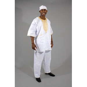 3 pc Men's Dashiki Pant Set & Cap : White