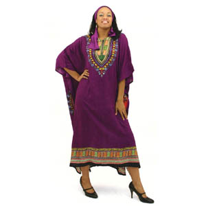 Traditional Print Kaftan - Purple