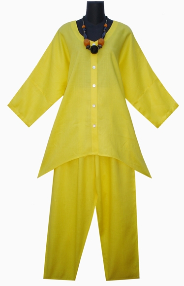 Stylish Linen set-8134YELLOW