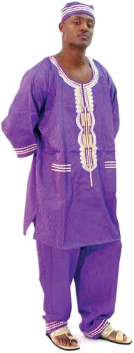 3 pc  African mens pant sets Purple