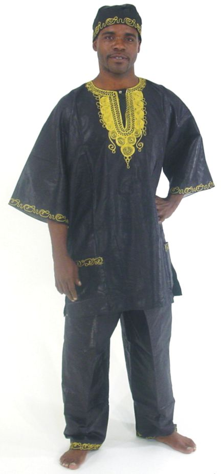 3 pc  African men Pant suit Black