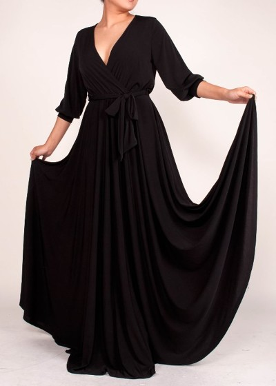 All Eyes On Me Collection -VENECHIA SOLID MAXI WRAP DRESS - blac