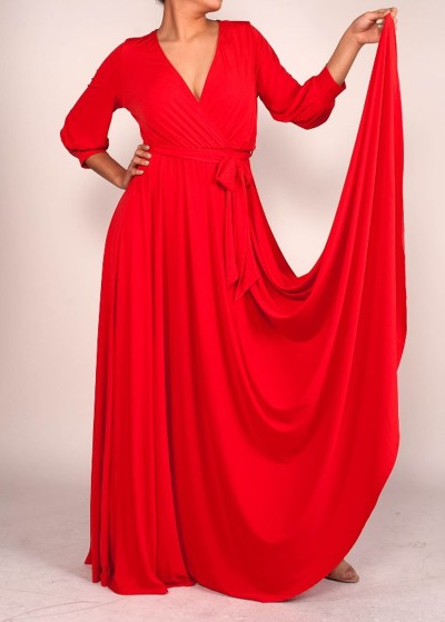 All Eyes On Me Collection -VENECHIA SOLID MAXI WRAP DRESS - red