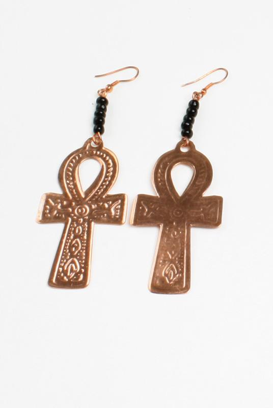 Ankh Earrings Copper