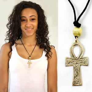 Brass Ankh Necklace: Medium