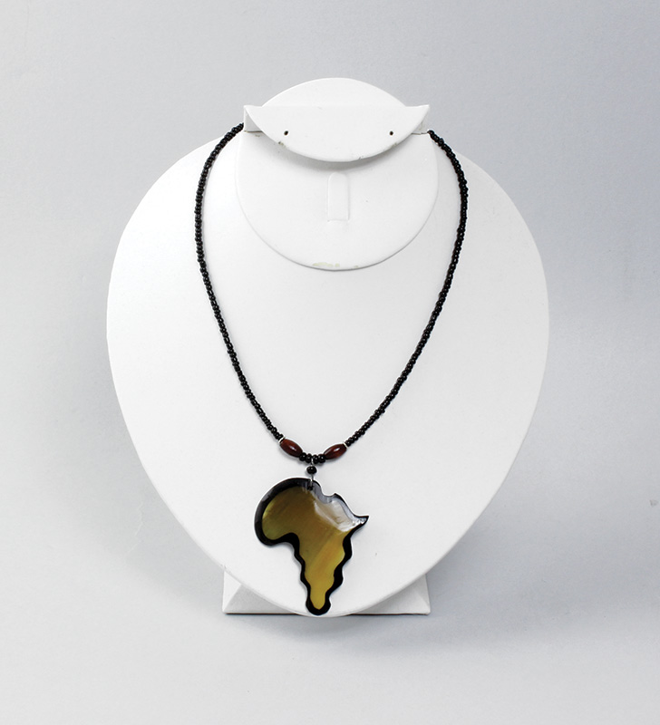 Africa Pendant Necklace: Black Map