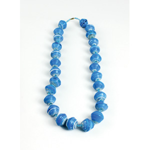 Large Bead Festival Necklace: Blue