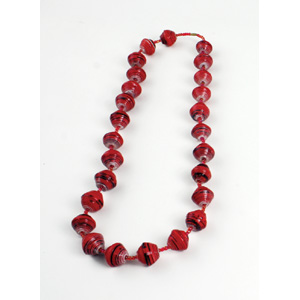 Large Bead Festival Necklace: Red