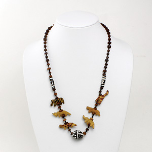 Animal Wood Necklace - Coconut Beads