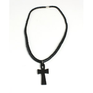 Wooden Ankh Necklace w/Coconut Band