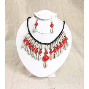Cowrie Shell Jewelry Set-Red