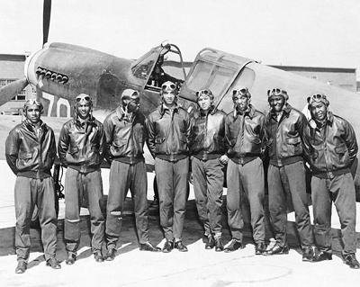 Tuskegee Airmen Posed with P-40 Warhawk, 1945