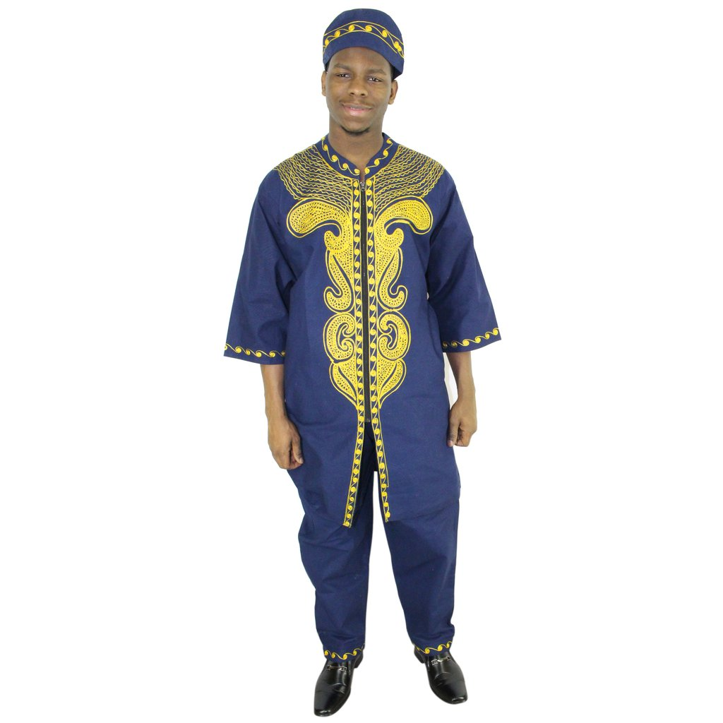 3 pc  African King pant sets - Black