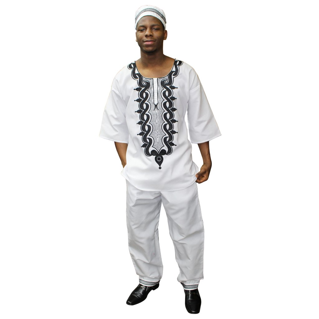 3 pc  African clothing for men - white