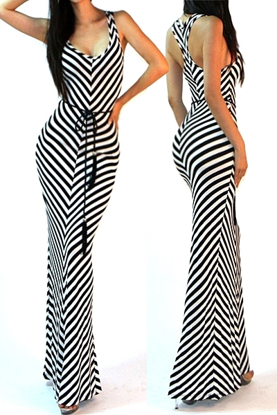 """All Eyes On Me Collection- Belted racerback long maxi dress"""
