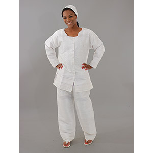George Fabric Pant Set - White