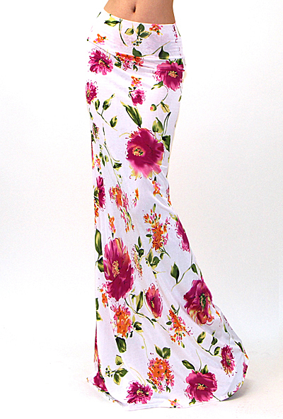 All Eyes On Me Collection-Sexy floral print maxi skirt