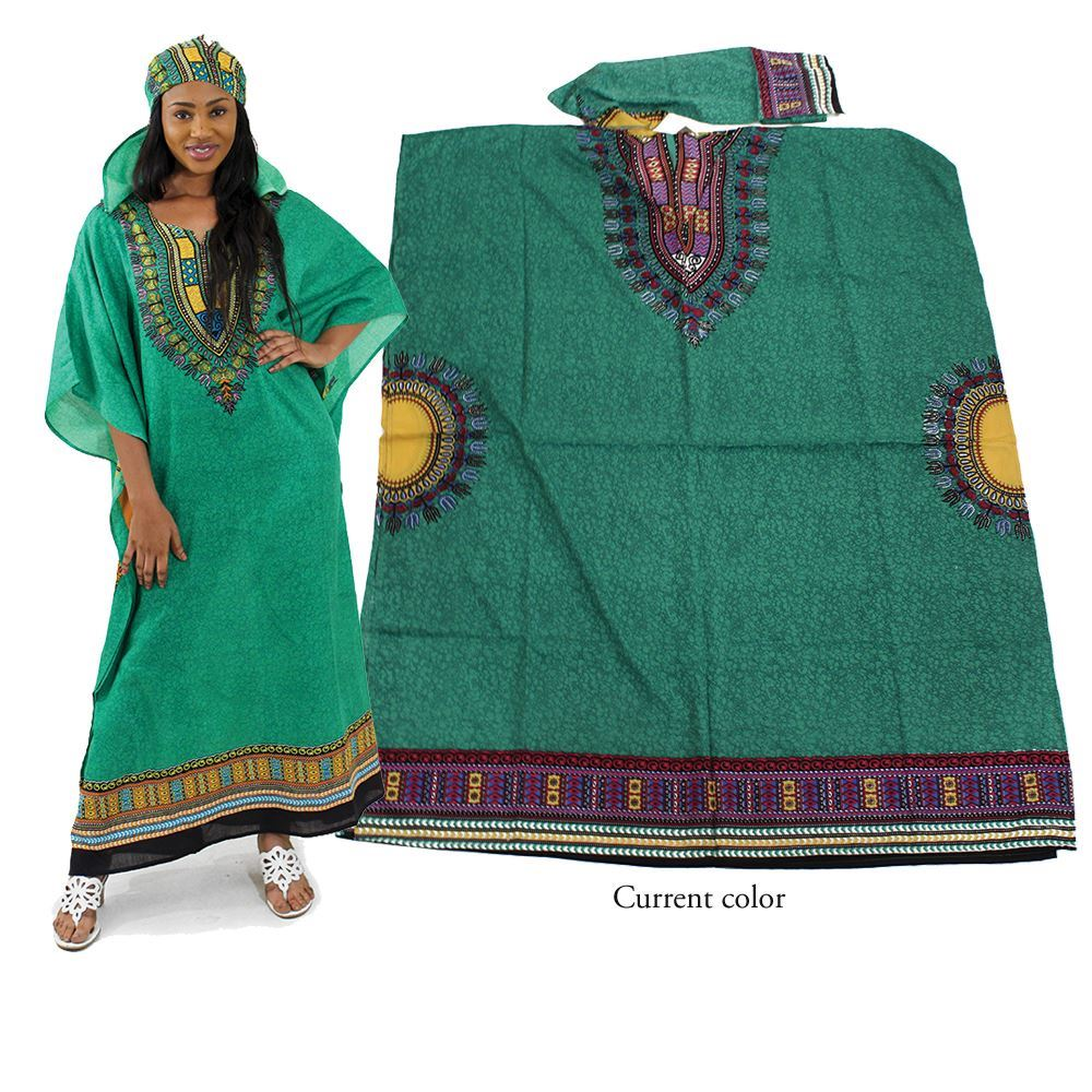 Traditional Print Kaftan - Green