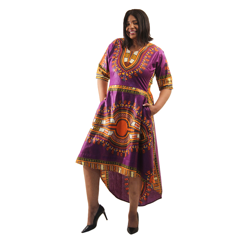 Traditional Print Hi-Lo Dress