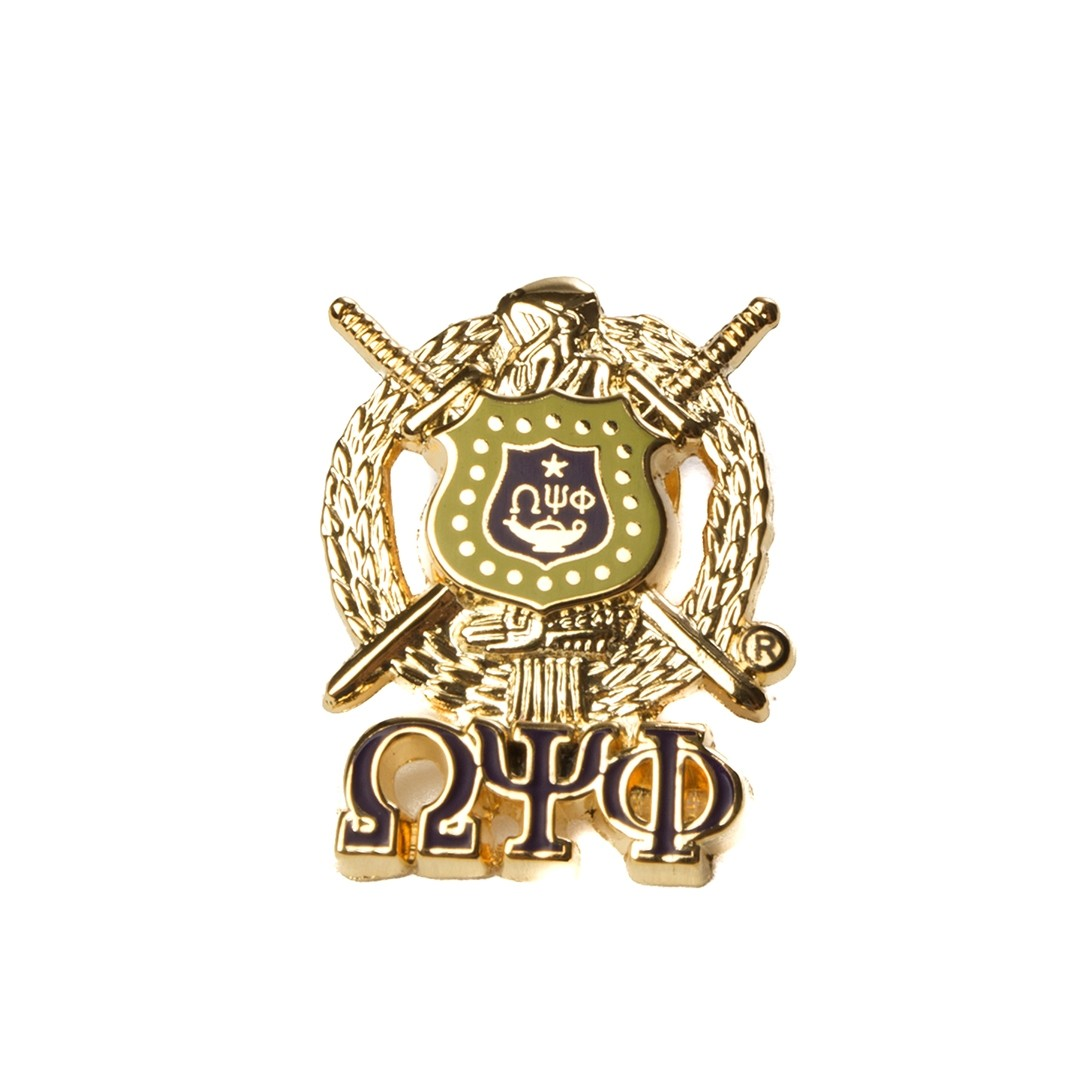 Omega Psi Phi Jewelry 3 D Color Shield Pin with Letters