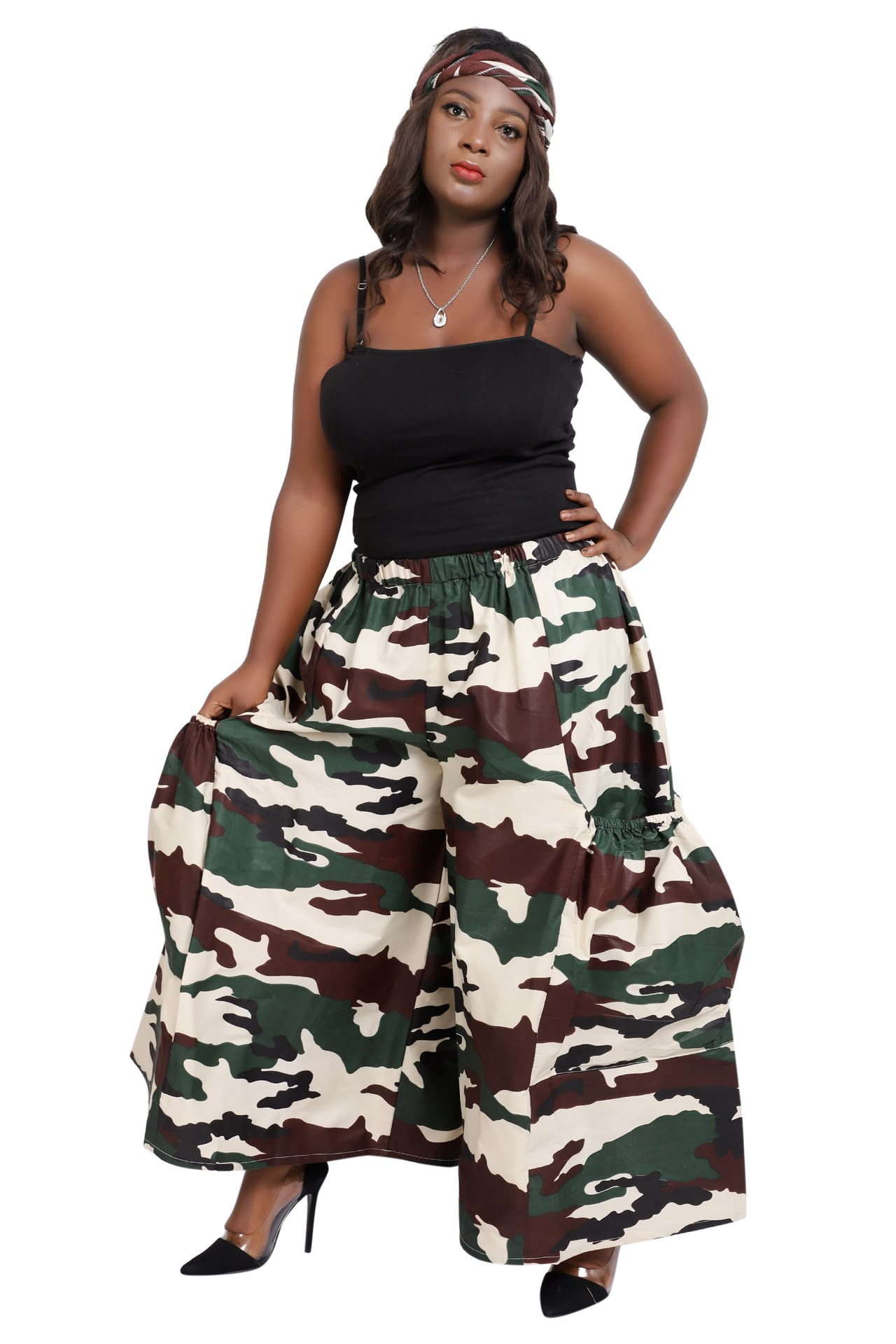 African Palazoo Pants in Camouflage Print