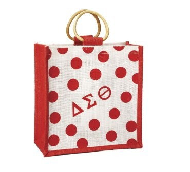 Delta Sigma Theta Bag Mini Polka Dot Jute
