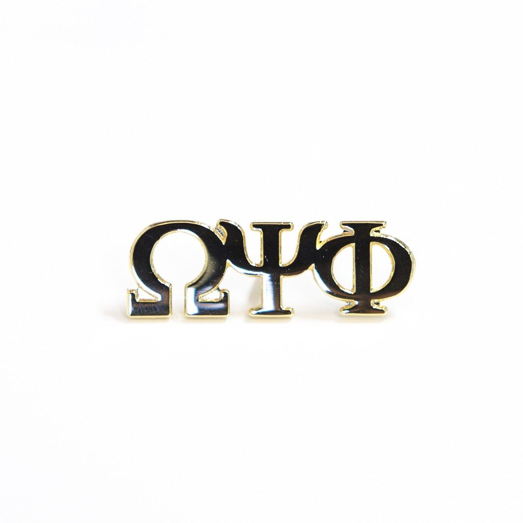 Omega Psi phi Jewelry 3 Letter Gold Pin