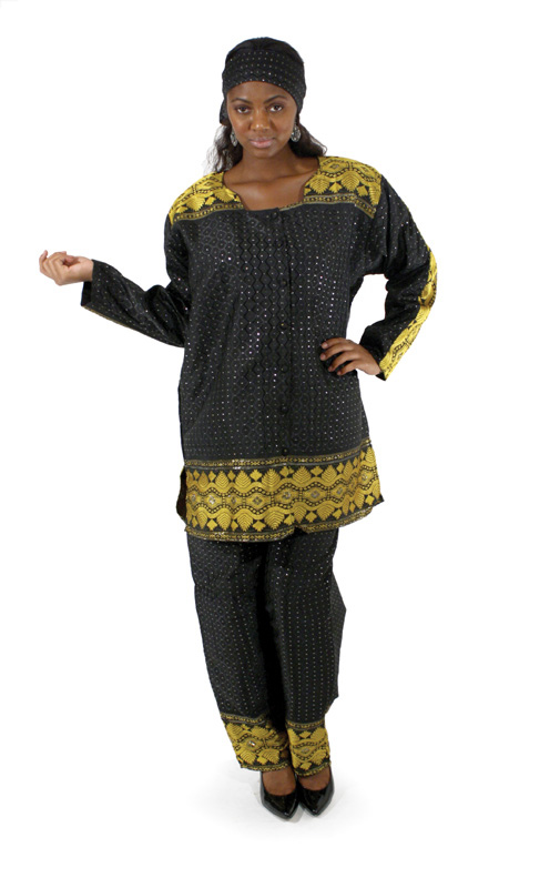 African George Fabric Pant Set - black