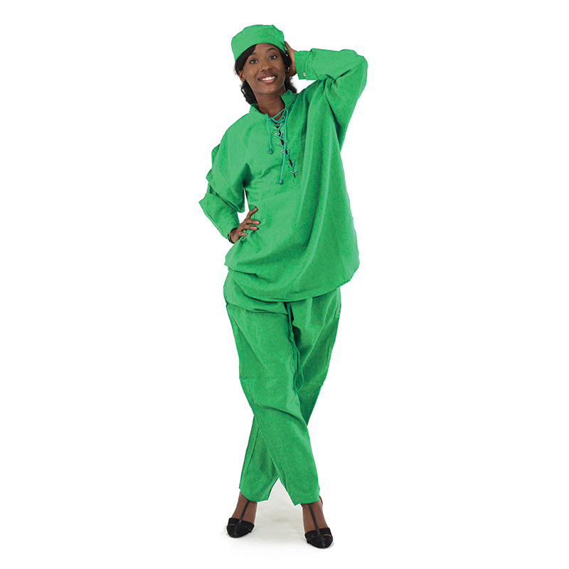 Cotton Pant Set - String-Tied: Green