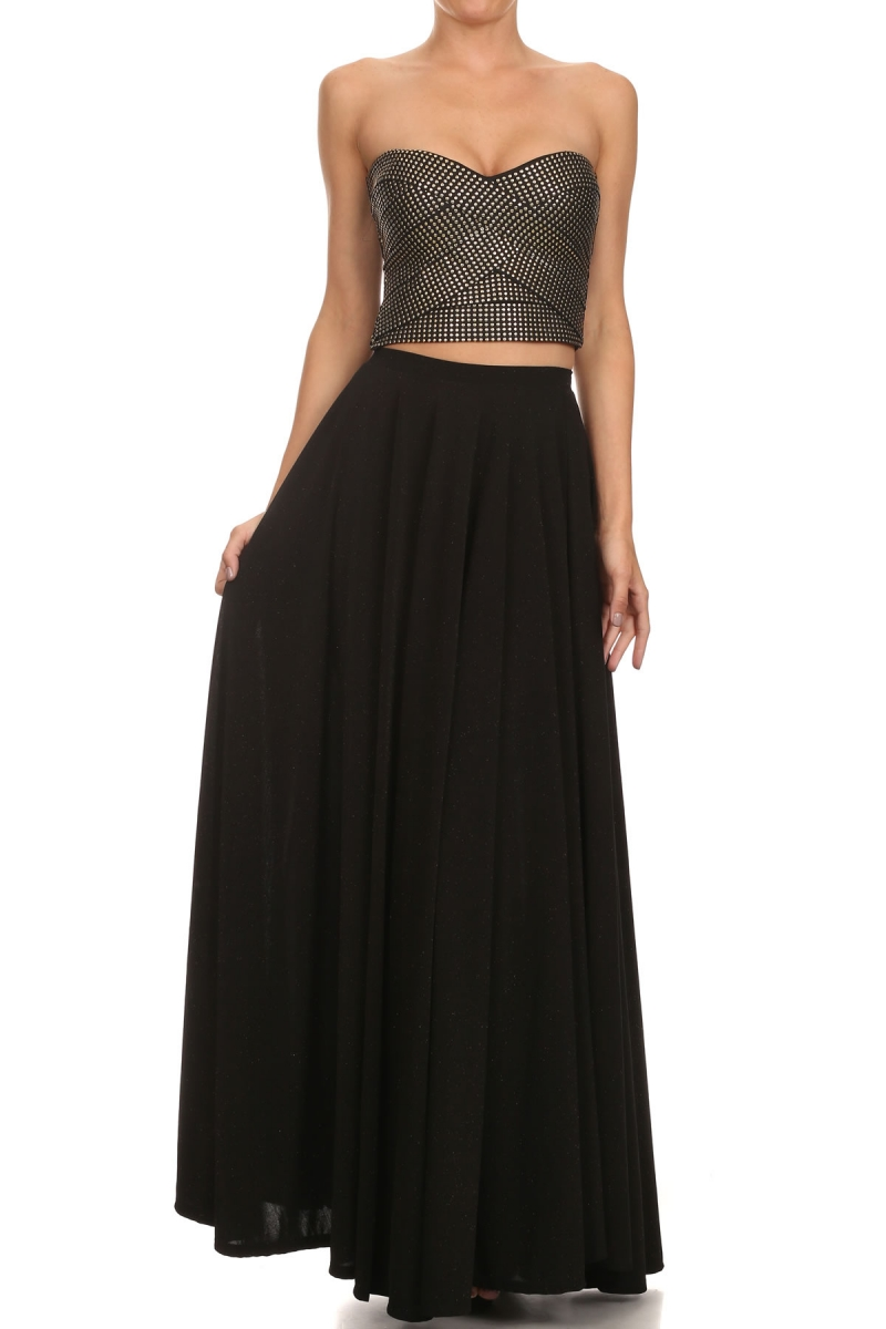 """All Eyes On Me Collection-crop top and flared skirt"""