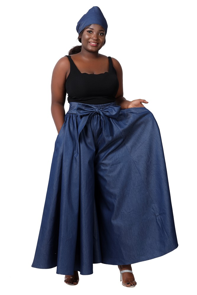 African Palazoo Pants in Denim