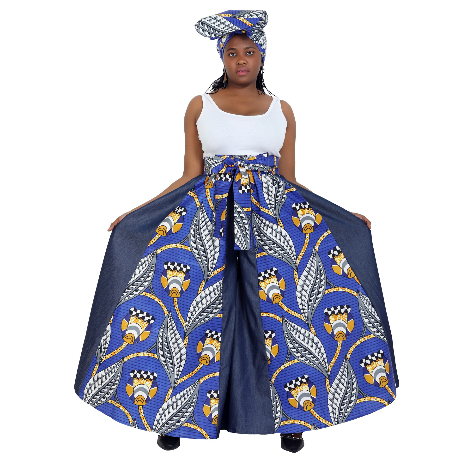 African Palazoo Pants in Wax Prints and Denim