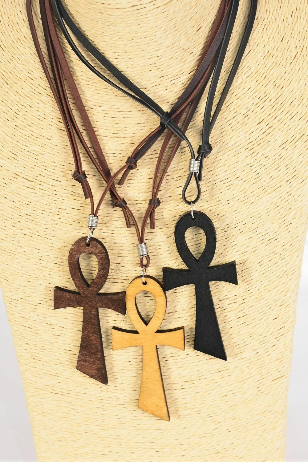 African Ankh Necklace Dark Brown