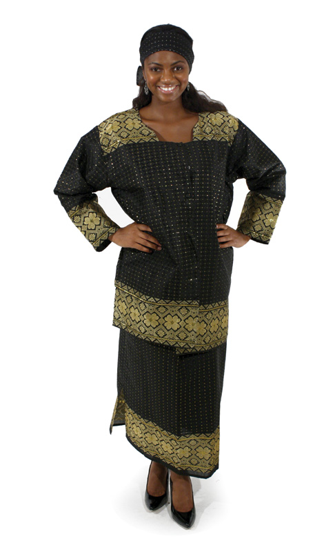 African George Fabric skirt Set - Black