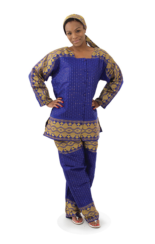 African George Fabric Pant Set - Blue