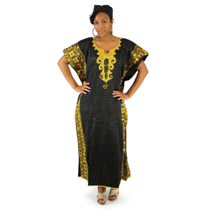 African George Fabric Caftan - Black