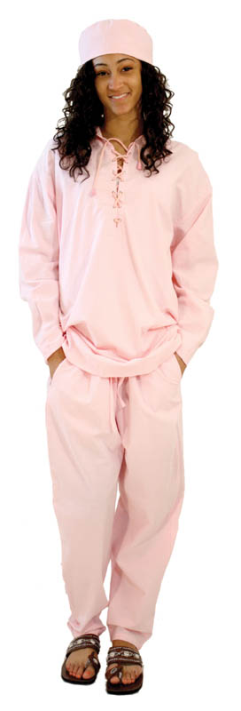 Cotton Pant Set - String-Tied: Pink
