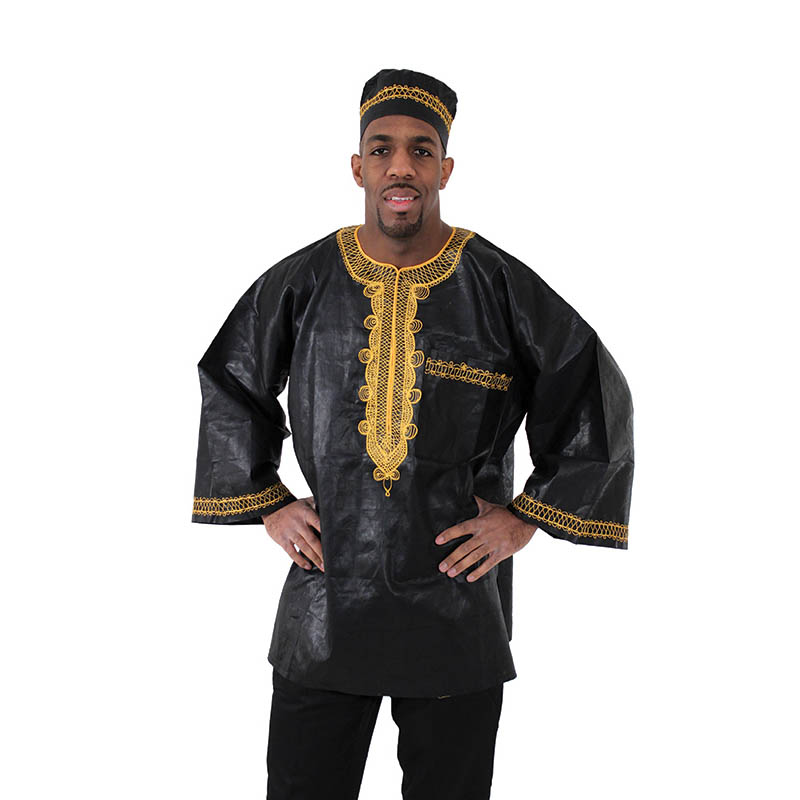 African Brocade fabric Dashiki Black